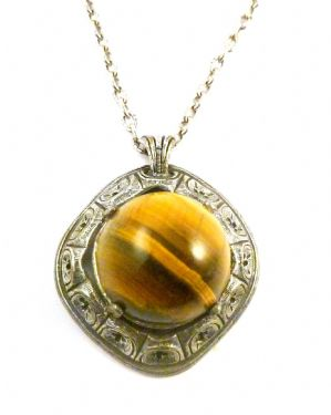 Vintage Tigers Eye Medieval Style Necklace By Miracle